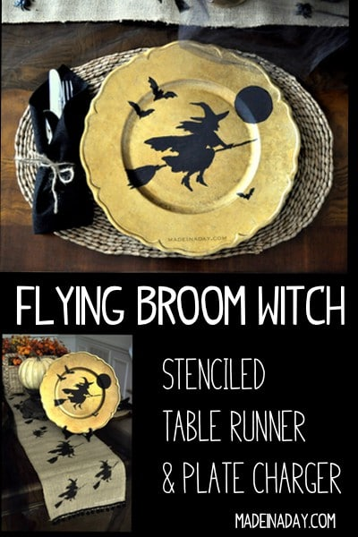 DIY Flying Broom Witch Table Runner Plate Charger. Make this super popular witch table runner with stencils! witch table runner, burlap Halloween table setting, Gold witch plate chargers, pom trim,