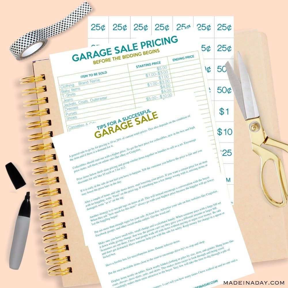 Free garage sale printables, printable garage sale price tags, garage sale printables