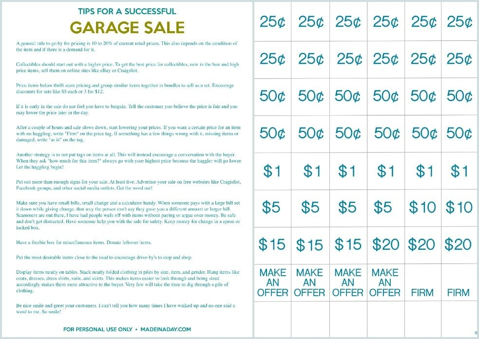 picture regarding Printable Garage Sale Price List named How towards Host the Excellent Garage Sale Printable Fixed