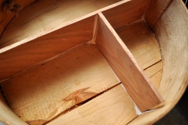 Glue Shelves into round box madeinaday.com