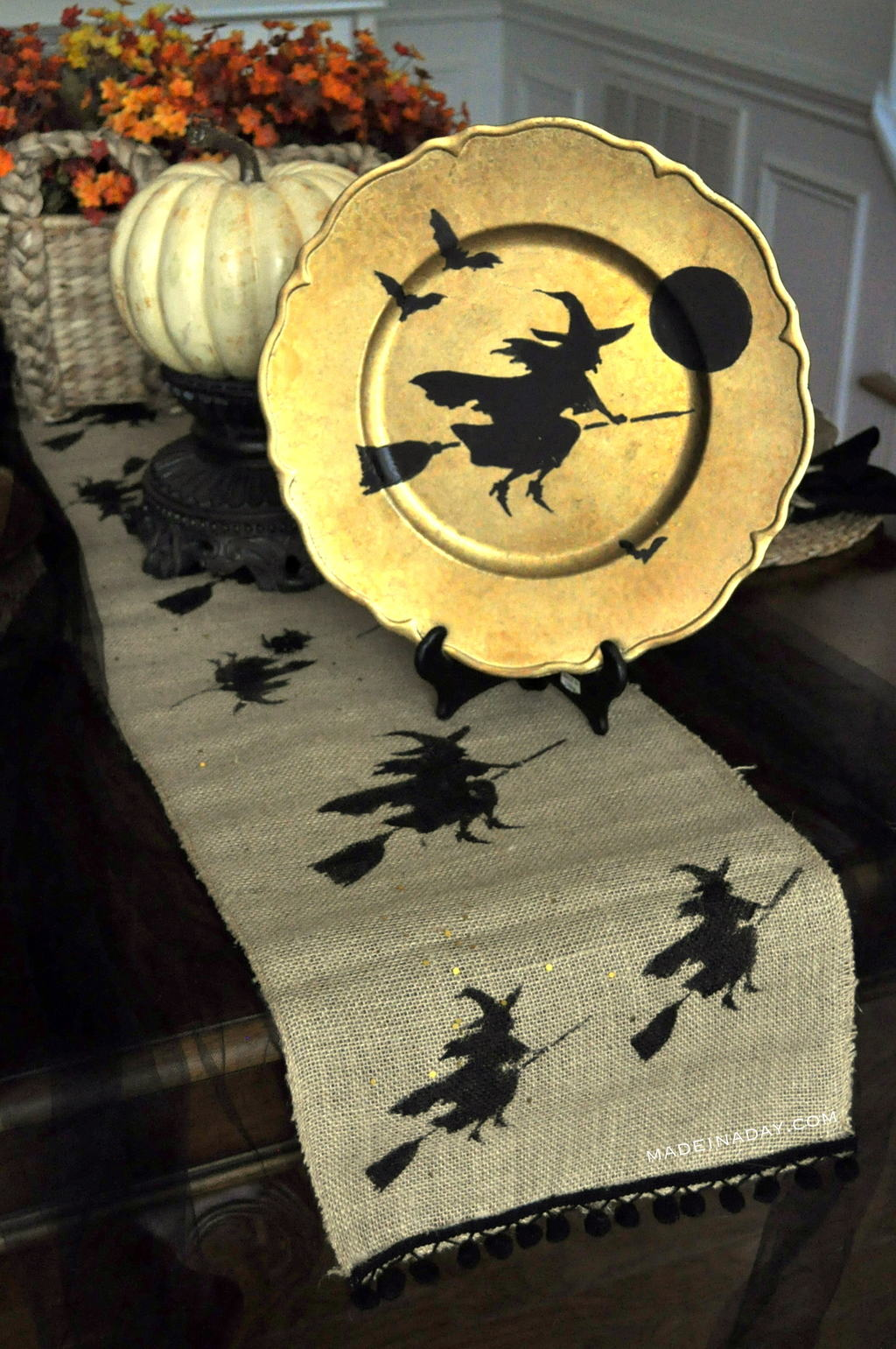 Halloween Flying Witch Stenciled Runner & Charger tutorial on madeinaday.com