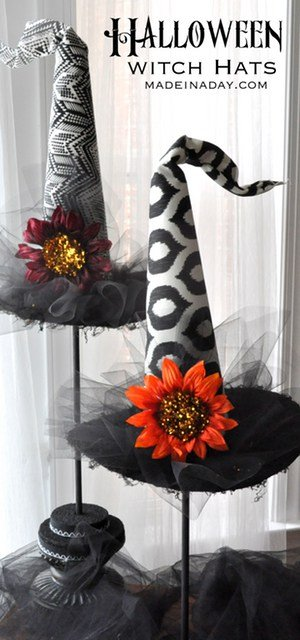 Decorative Halloween Witch Hats. Make these adorable hats to add to your spooky decor for the holidays! Funky witch hat, ikat, geometric fabric, tulle, DIY witch hat, tutorial on madeinaday.com
