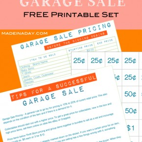 Host the Perfect Garage Sale FREE Printables madeinaday.com