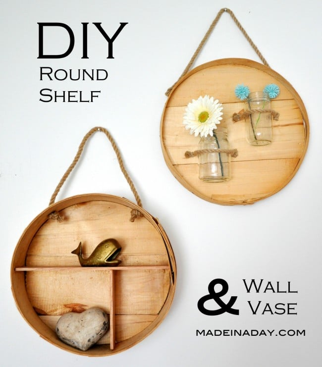 Round Shelf and Wall Vase from a Cheese Box madeinaday.com