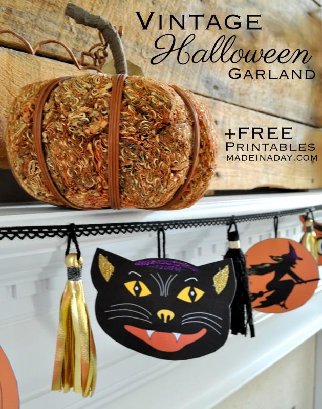 Vintage Cat Witch Pumpkin Owl Halloween Printables madeinaday.com