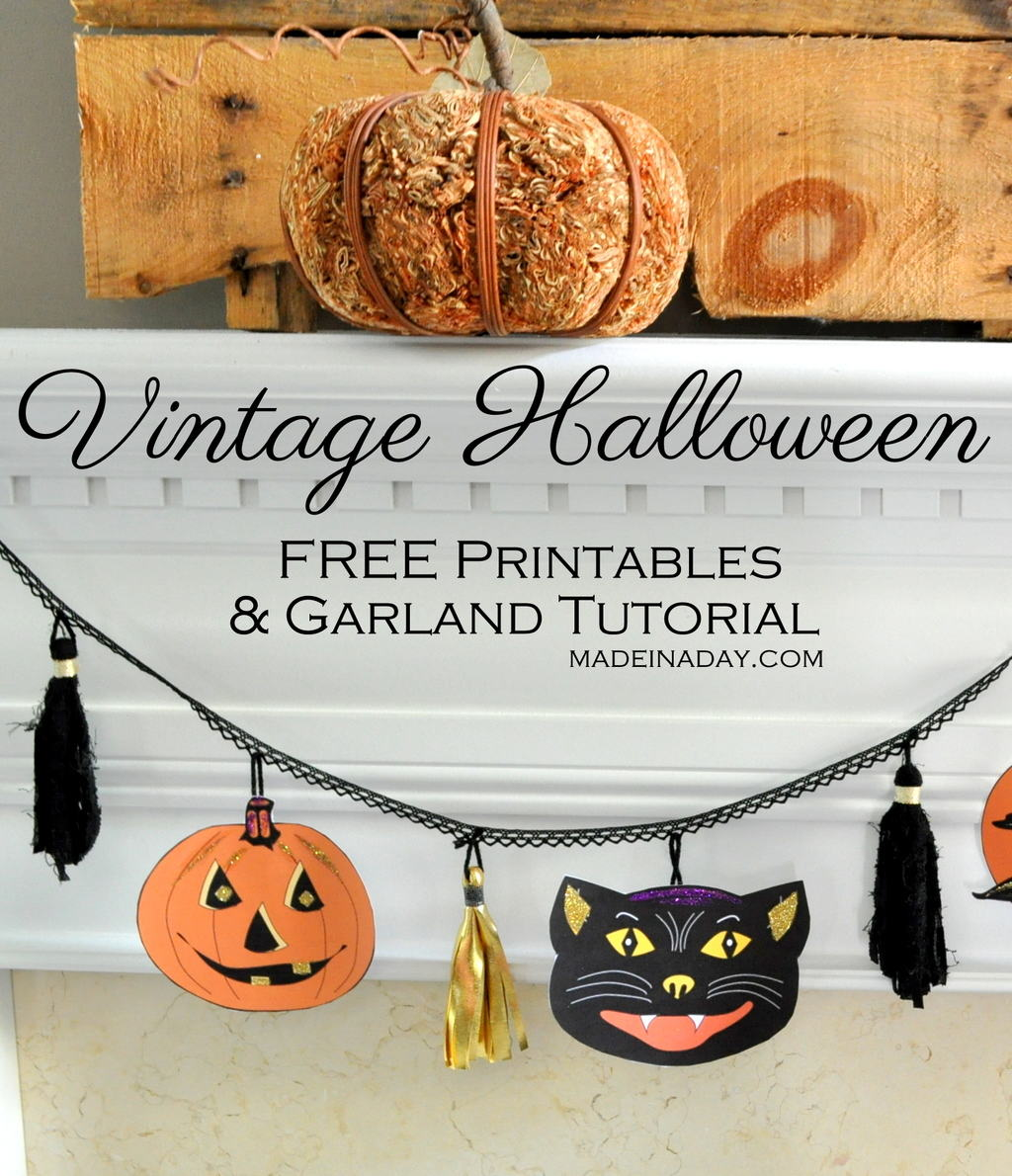 Vintage Halloween Free Printables Garland Tutorial madeinaday.com