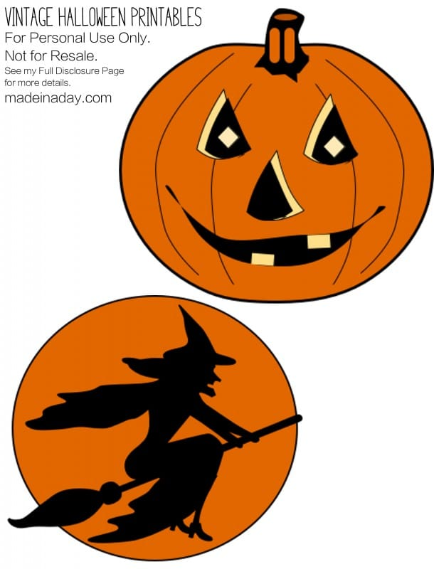 vintage halloween printables pumpkin - Halloween Decorations Printable