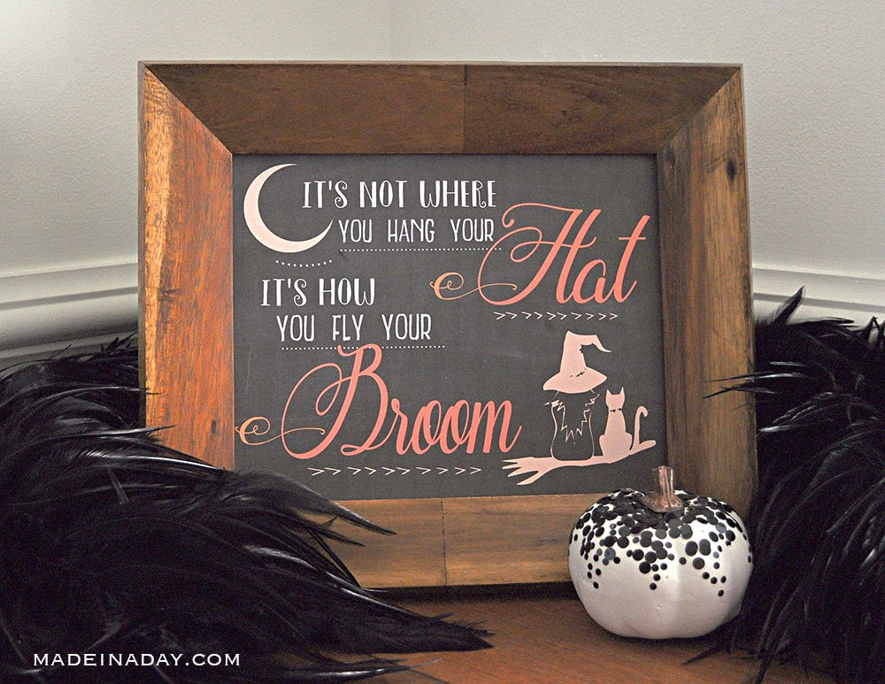 Halloween witch quote printable, witch broom quote,