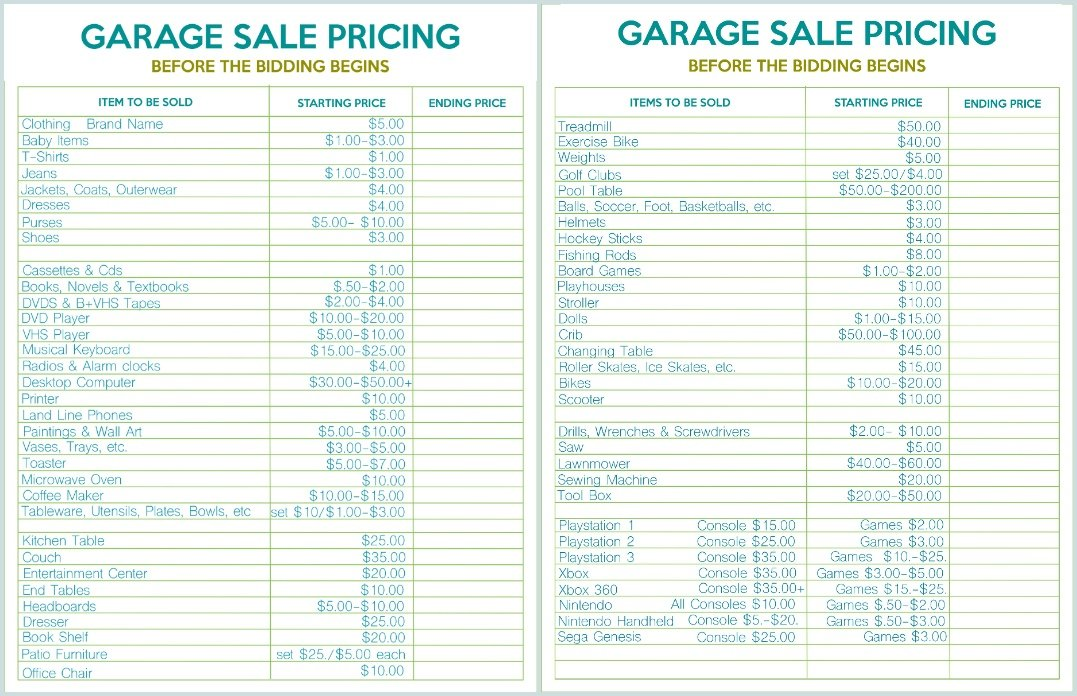 printable garage sale price list, yard sale price list, yard sale pricing guide, price stickers