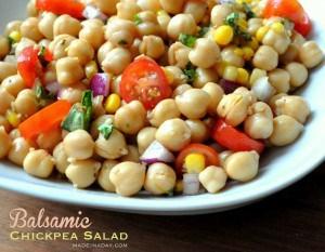 Balsamic Chickpea Jardiniere Salad Vinaigrette madeinaday.com