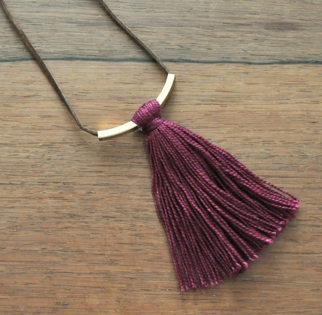 Burgandy Tassel Bar Necklace Tutorial madeinaday.com