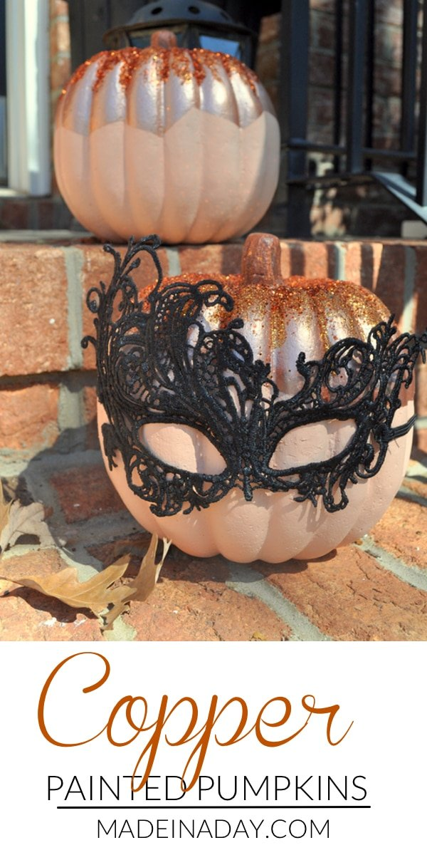 Copper Painted Pumpkins for Fall Decor, Easy tutorial to get that trendy copper look for your fall decor. copper pumpkins, metallic copper paint, foam pumpkin, peach pumpkin, glitter pumpkin, #pumpkin #paint #falldecor #fall
