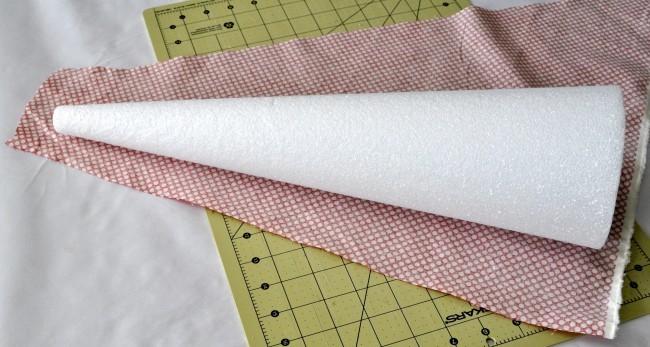 Cover a foam cone in fabric madeinaday.com