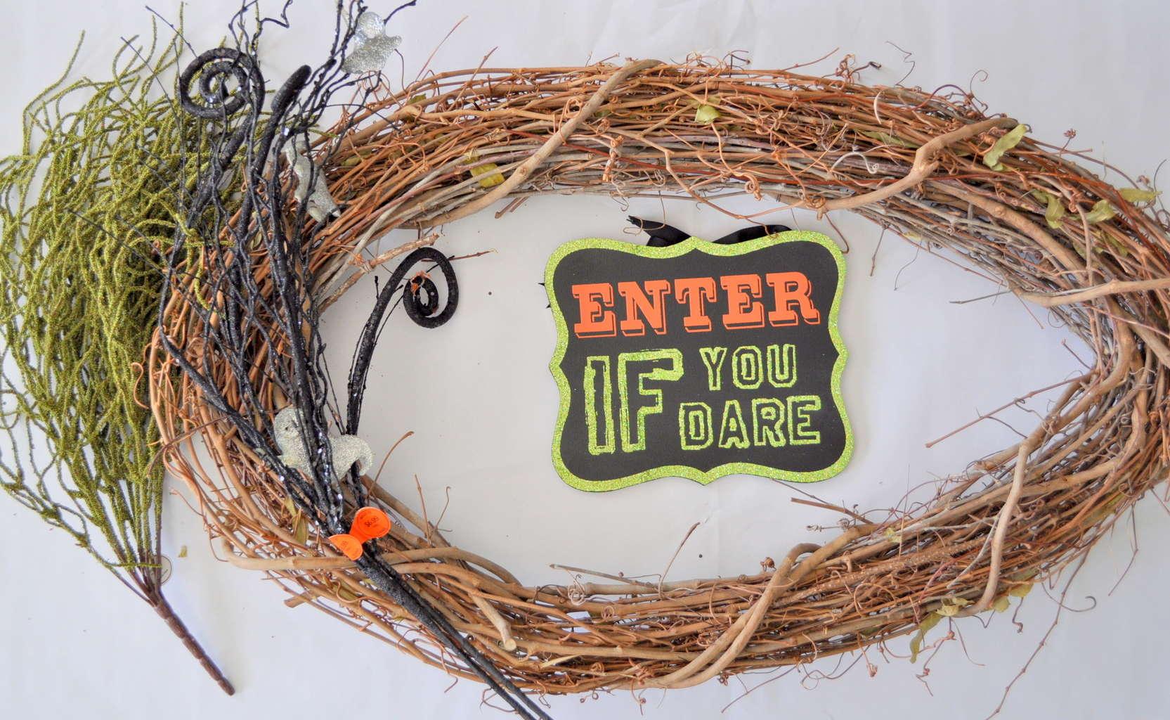 Creepy Witch Wreath Tutorial madeinaday.com