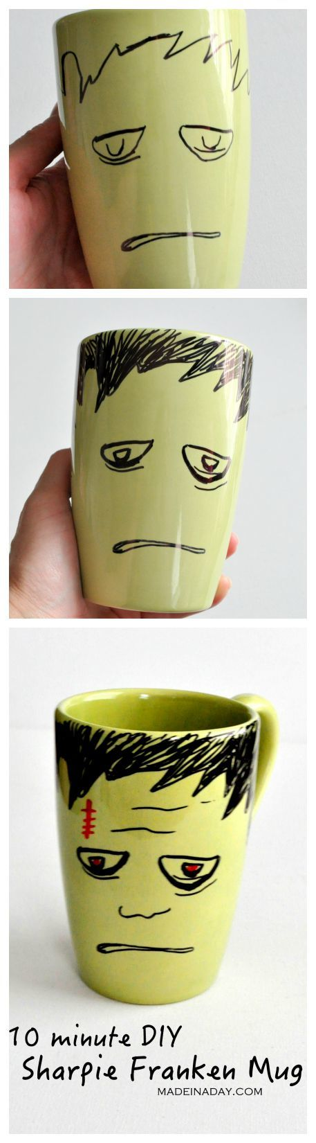 DIY Frankenstein Sharpie Mug 2