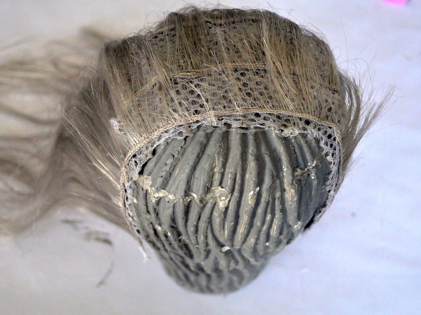 Glue Wig Wefts to Witch Foam head madeinaday.com