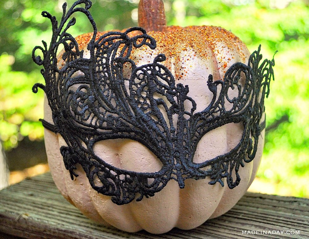 Metallic Color Block Pumpkins, copper pumpkin, Halloween mask pumpkin