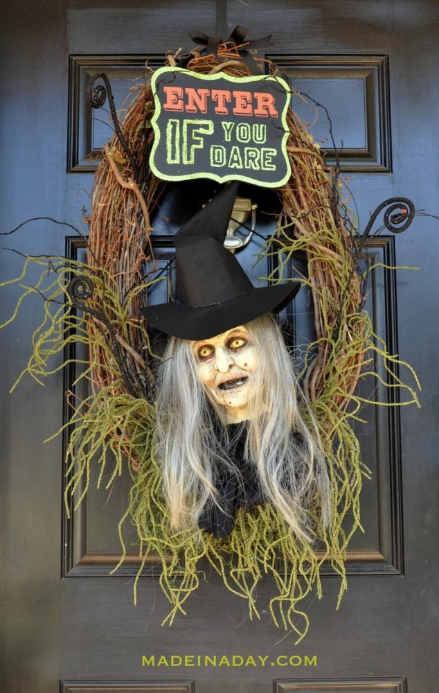 Halloween Witch Wreath Foam Head Prop Tutorial