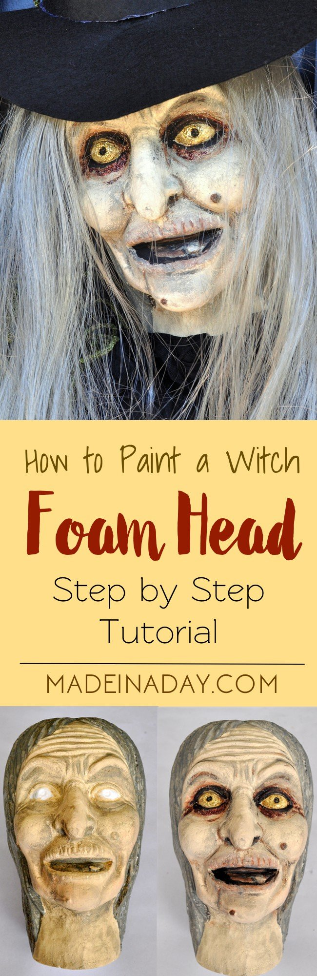 Wicked Witch Halloween Wreath Paint a foam witch head and add a grey wig and make it the centerpiece to a Halloween Wreath, paint a witch face, tutorial on madeinaday.com