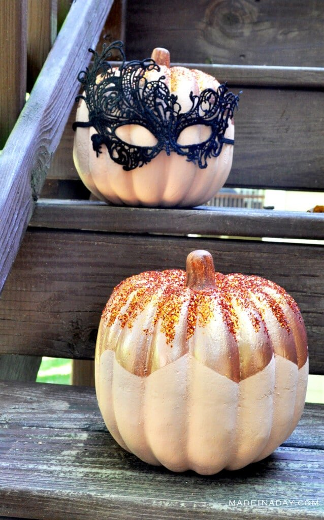 glitter metallic pumpkin