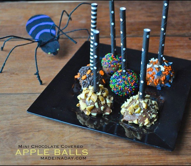 Mini Chocolate Covered Apple Balls Recipe madeinaday.com