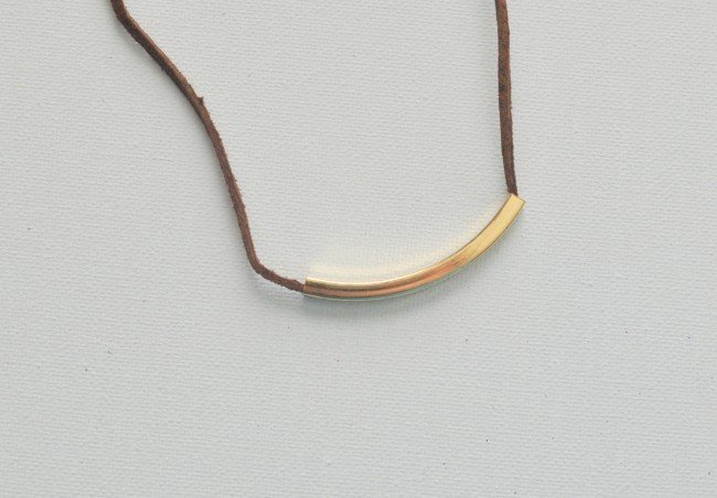 Simple Leather Bar Tassel Necklace madeinaday.com