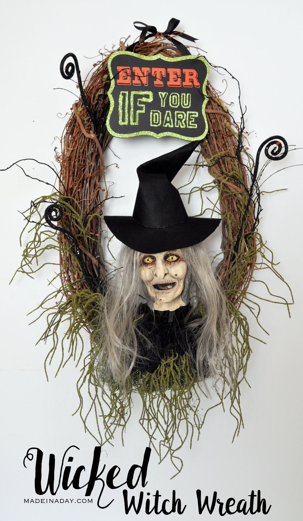 Wicked Witch Halloween Wreath Paint a Foam Head Tutorial madeinaday.com