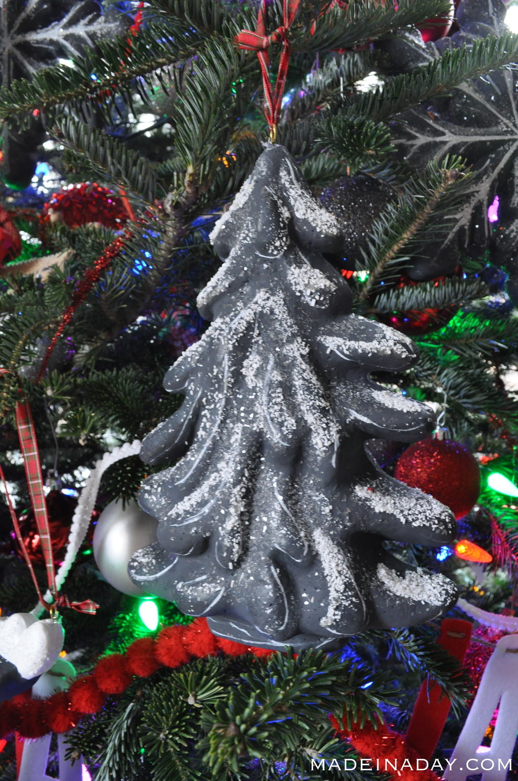 Chalkboard Flocked Tree Ornament madeinaday.com