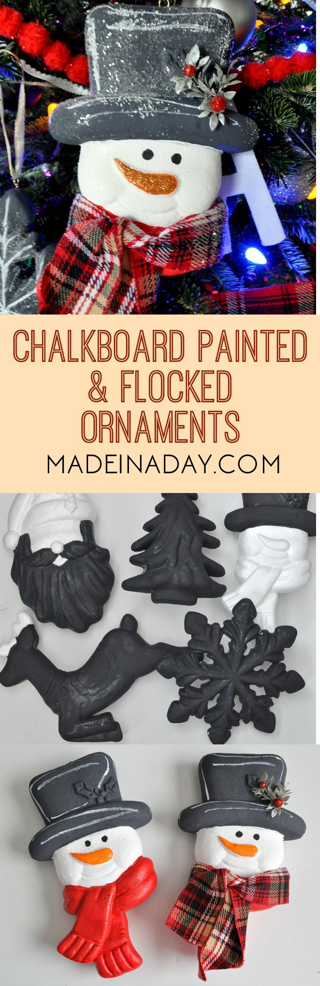 Chalkboard Flocked Ornaments 2