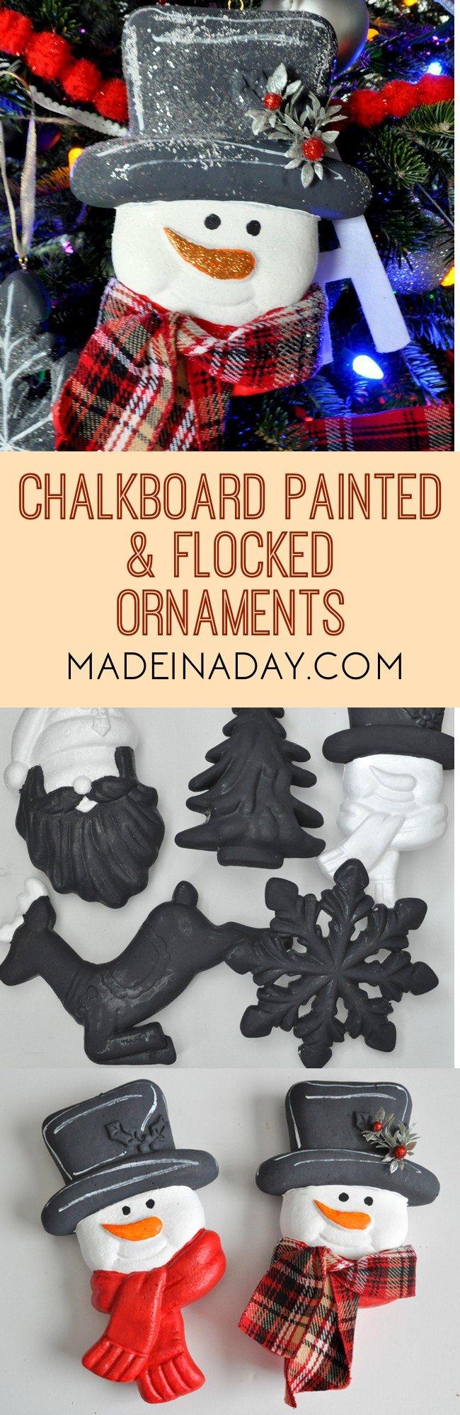 Chalkboard Flocked Ornaments, chalkboard paint, flocked ornament, Diamond Dust flocking, DIY Christmas ornaments