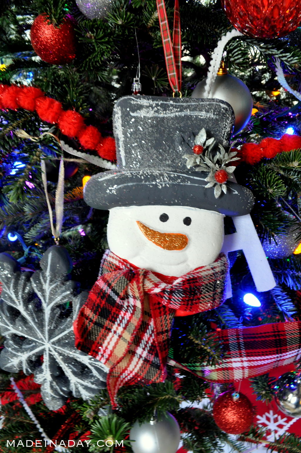 Chalkboard Snow Flocked Snowman Ornament madeinaday.com