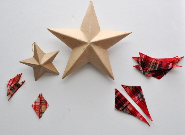 Cover paper mache star with fabric