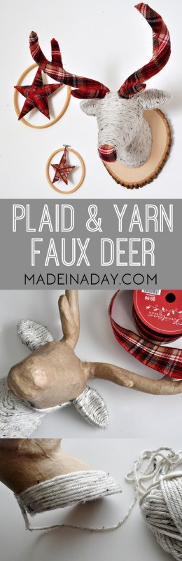 DIY Plaid Antler yarn Wrapped Faux Deer Tutorial on madeinaday.com