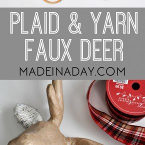 Festive Plaid and Yarn Faux Deer Head 1