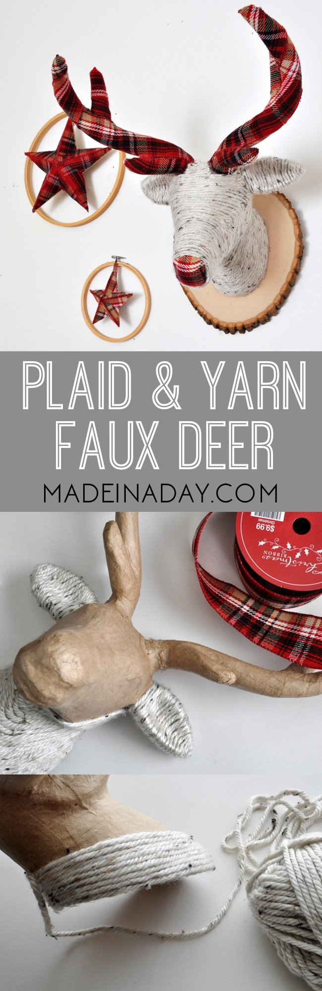 Festive Plaid and Yarn Faux Deer Head 6