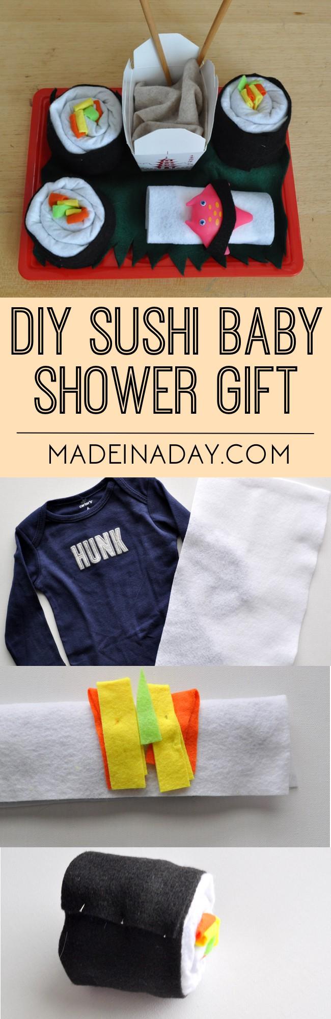 DIY Sushi Baby Shower Gift, Rolled fabric sushi, boy shower gift, cute baby gifts, takeout box gift,