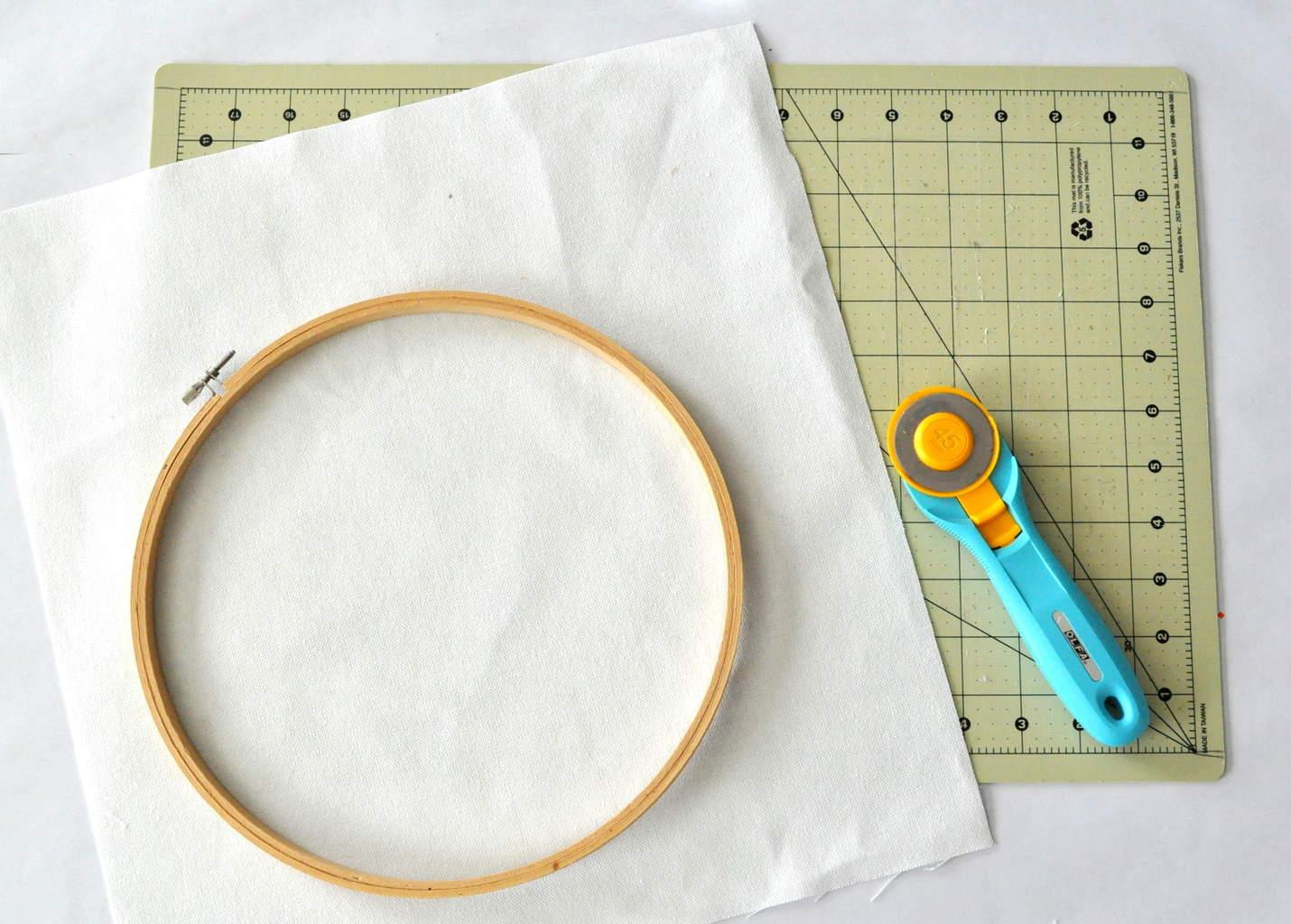 Duck cloth hoop art