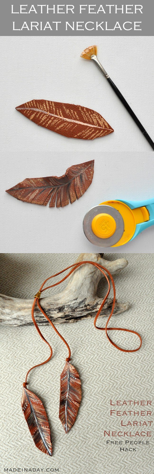 DIY Leather Feather Lariat Necklace + Free Printable Feather Guide, learn to make a simple leather lariat painted necklace, feather necklace #feather #necklace #lariat #leather #jewelry