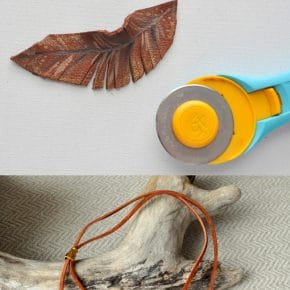Leather Feather Lariat Necklace 6