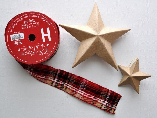 Easy Plaid Ribbon Covered Stars