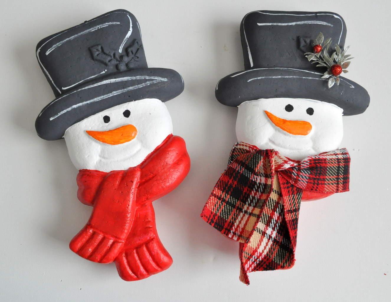 Embellishing foam snowman ornaments