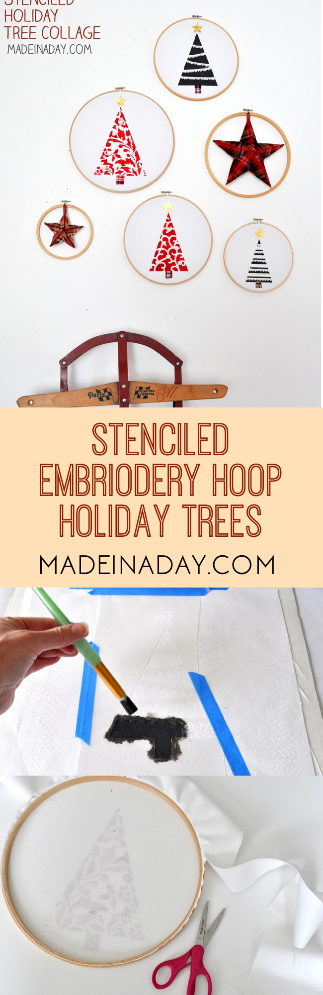 Stenciled Holiday Tree Collage, Stenciled Holiday Trees on canvas, embroidery hoop tree, holiday trees embroidery hoop collage, painted trees embroidery hoop