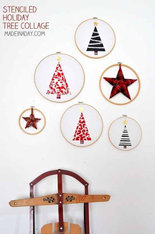 Embriodery Hoop Holiday Trees Wall Art with Stencils