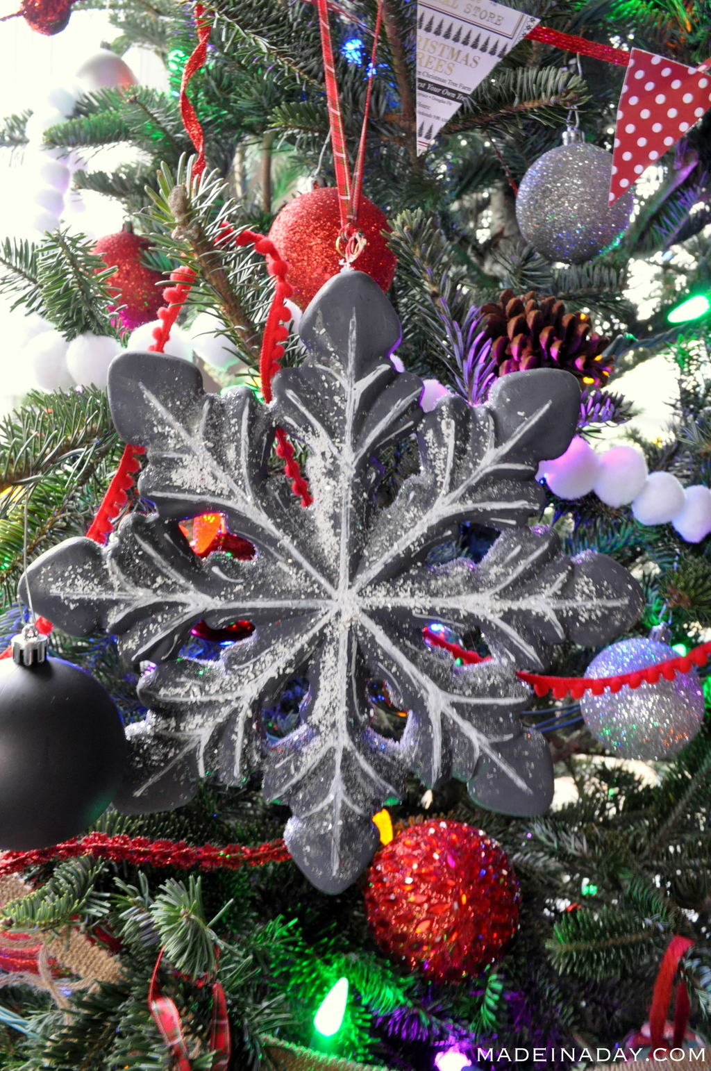 Flocked Chalkboard Snowflake Ornament madeinaday.com