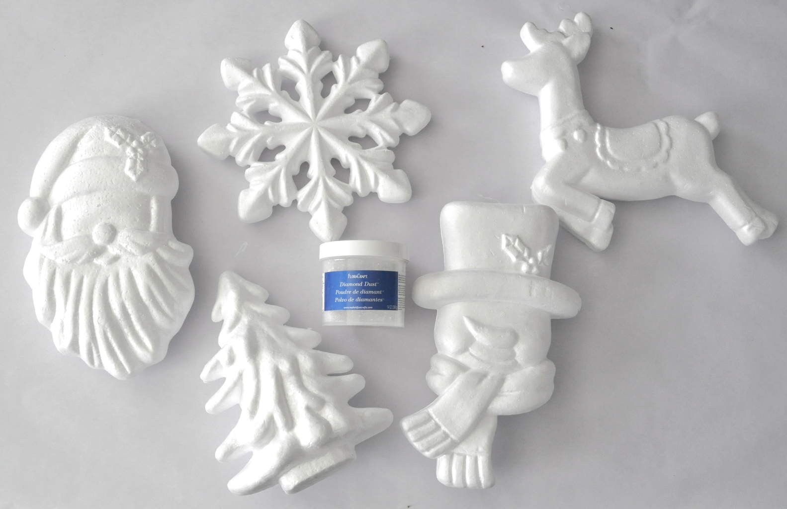 FloraCraft® Foam Holiday shapes Flocked Ornaments madeinaday.com