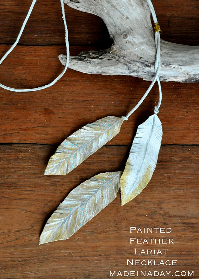 Leather Feather Lariat Necklace 8