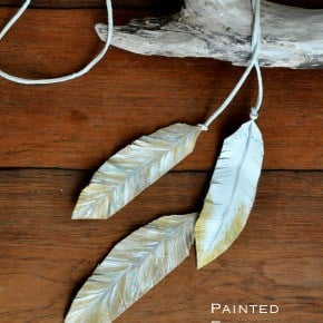 Gold Painted Leather Feather Lariat Necklace madeinaday.com