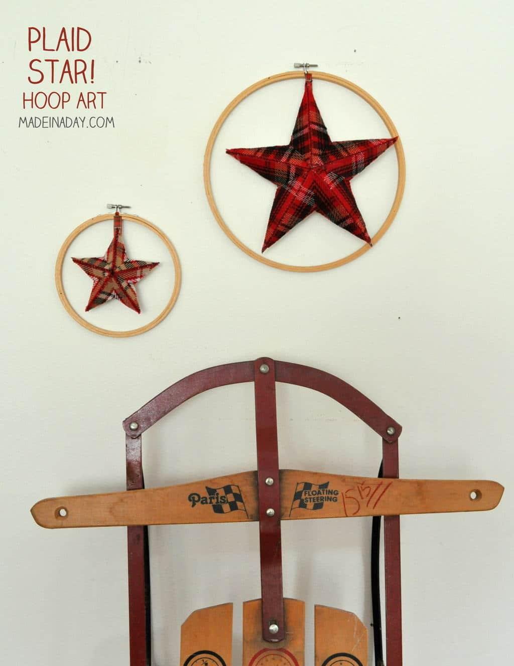 #Plaid #Fabric #Stars, hoop star wall art, cardboard stars, ribbon covered stars