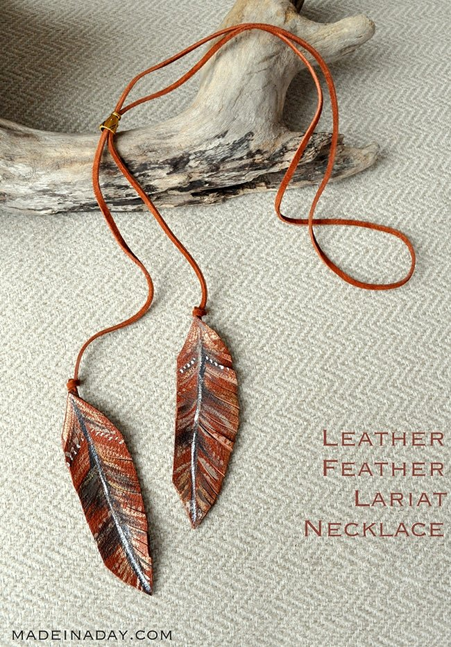 Leather Feather Lariat Necklace 2