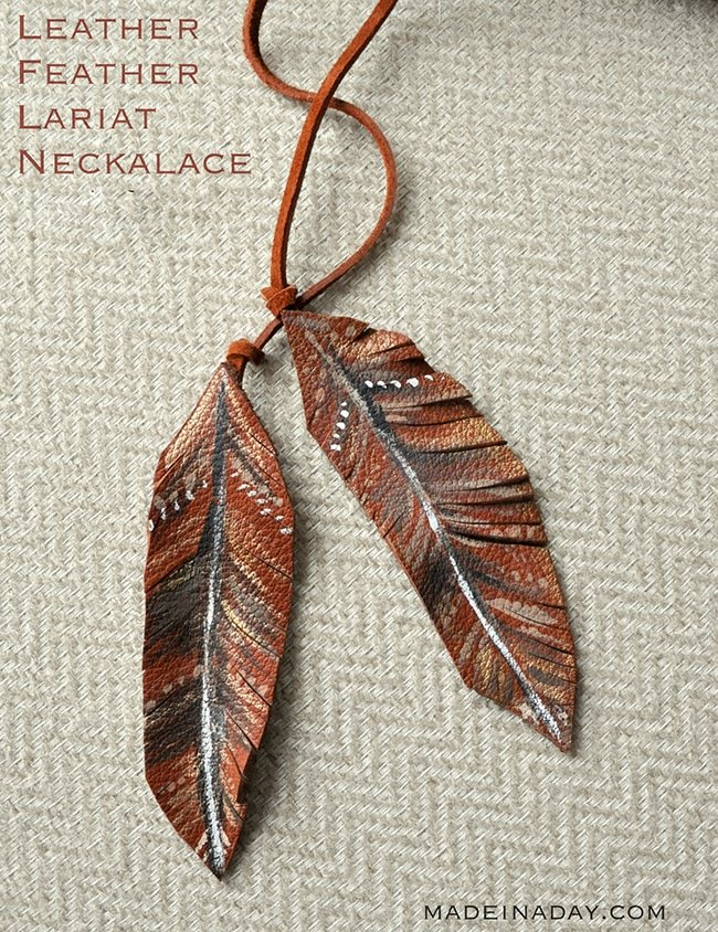 Leather Feather Lariat Necklace 7